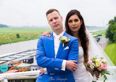 www.gansfotografie.nl wedding garnwerd aan zee boot, molen ,water Groningen-2494